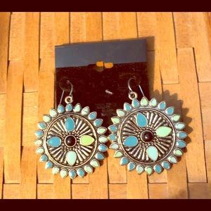 Jewelry - Turquoise-Silvertone  Earrings